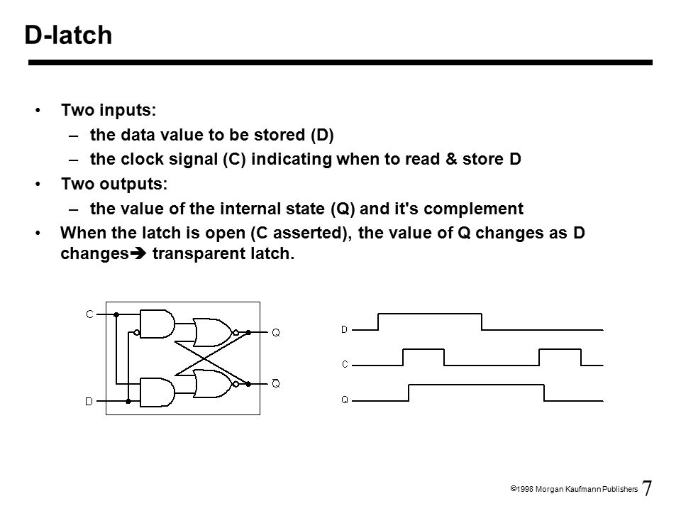7  1998 Morgan Kaufmann Publishers Two inputs: –the data value to be stored (D) –the clock signal (C) indicating when to read & store D Two outputs: –the value of the internal state (Q) and it s complement When the latch is open (C asserted), the value of Q changes as D changes  transparent latch.