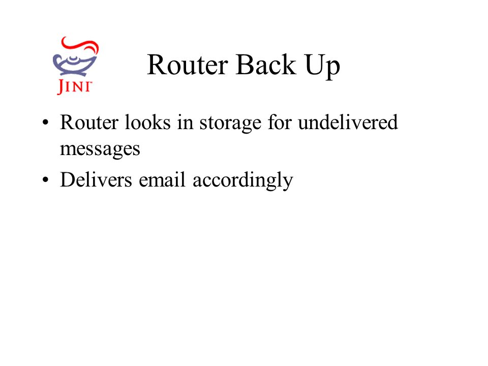 Router Back Up Router looks in storage for undelivered messages Delivers  accordingly