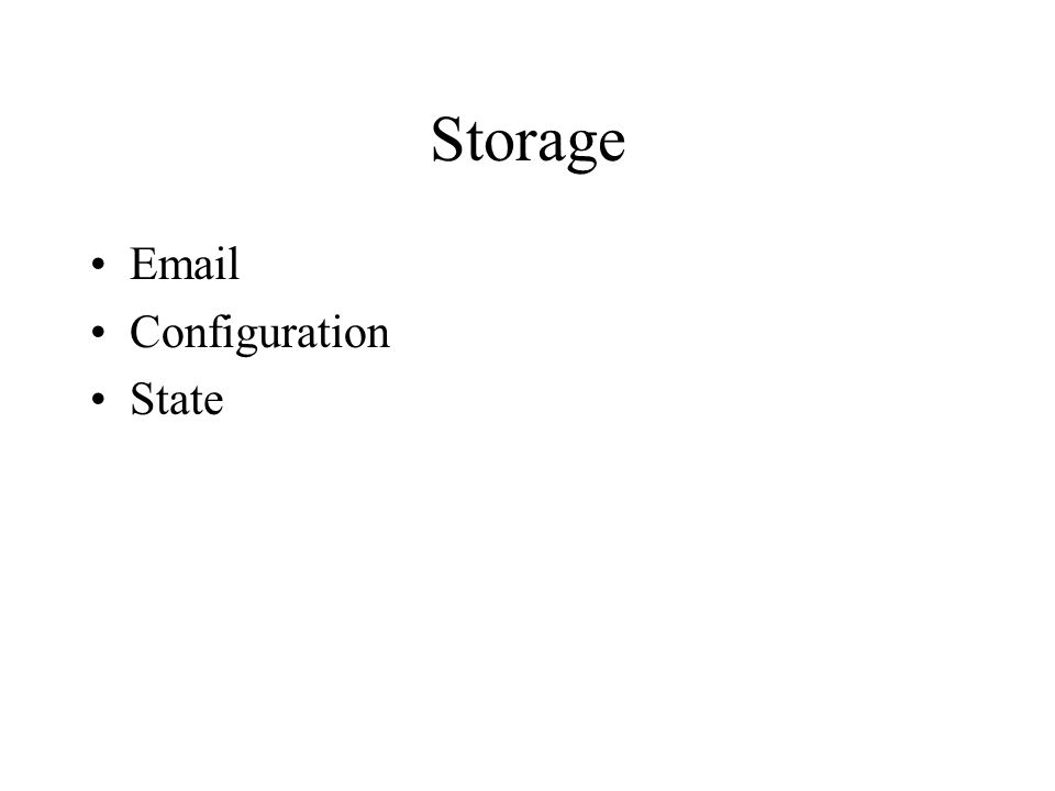 Storage  Configuration State