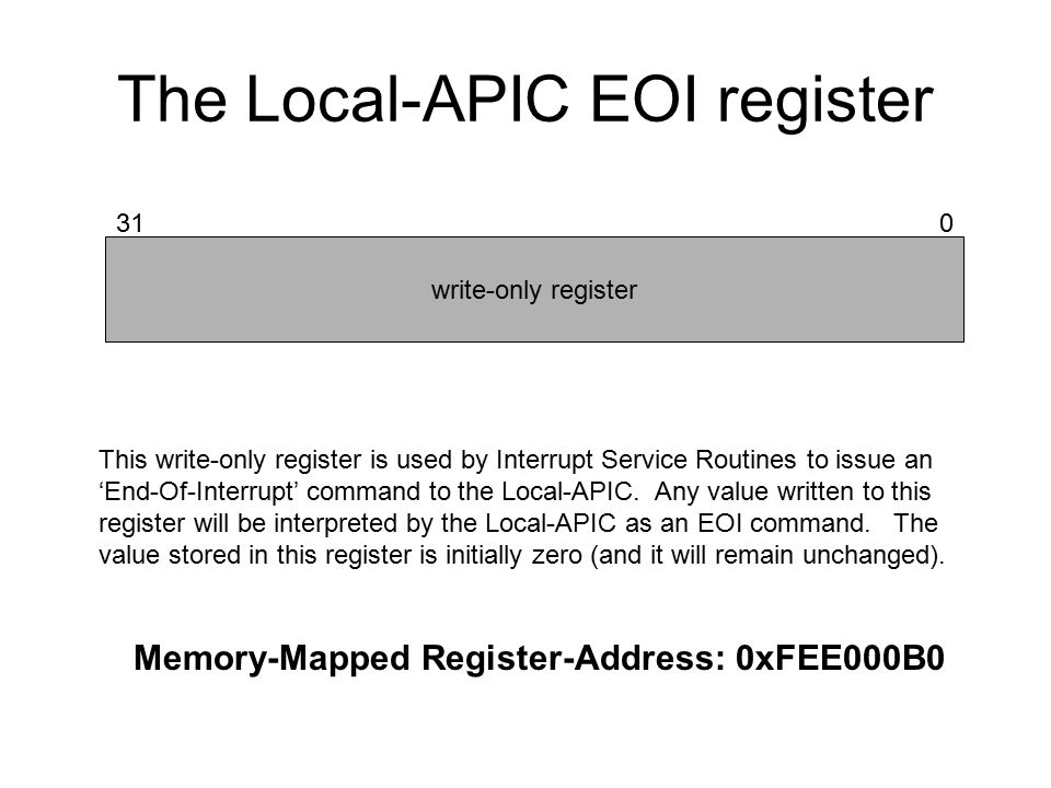 The Local-APIC EOI register write-only register 310 Memory-Mapped Register-Address: 0xFEE000B0 This write-only register is used by Interrupt Service Routines to issue an 'End-Of-Interrupt' command to the Local-APIC.