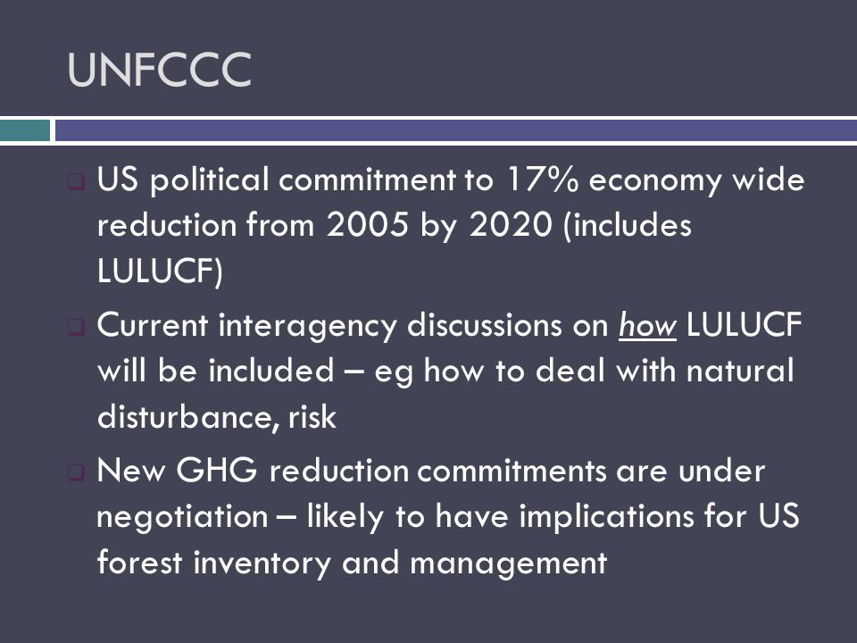UNFCCC  US political commitment to 17% economy wide reduction from 2005 by 2020 (includes LULUCF)  Current interagency discussions on how LULUCF will be included – eg how to deal with natural disturbance, risk  New GHG reduction commitments are under negotiation – likely to have implications for US forest inventory and management