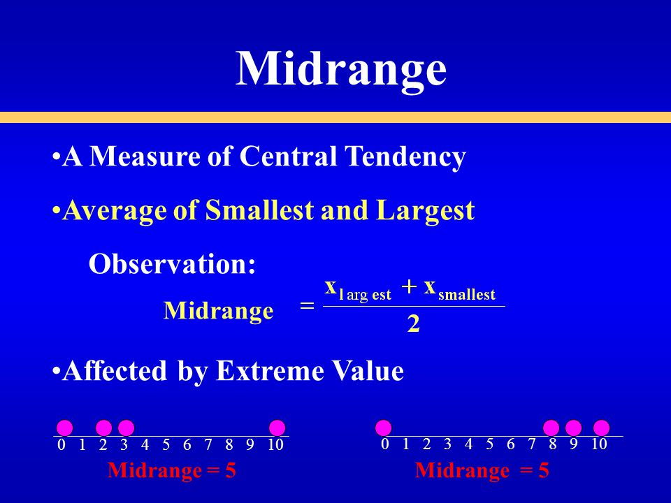 Midrange A Measure of Central Tendency Average of Smallest and Largest Observation: Affected by Extreme Value Midrange Midrange = 5