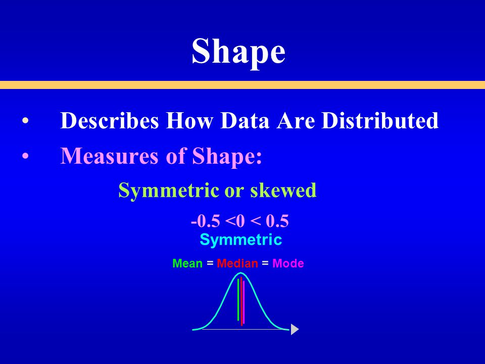 Shape Describes How Data Are Distributed Measures of Shape: Symmetric or skewed Symmetric Mean =Median =Mode -0.5 <0 < 0.5