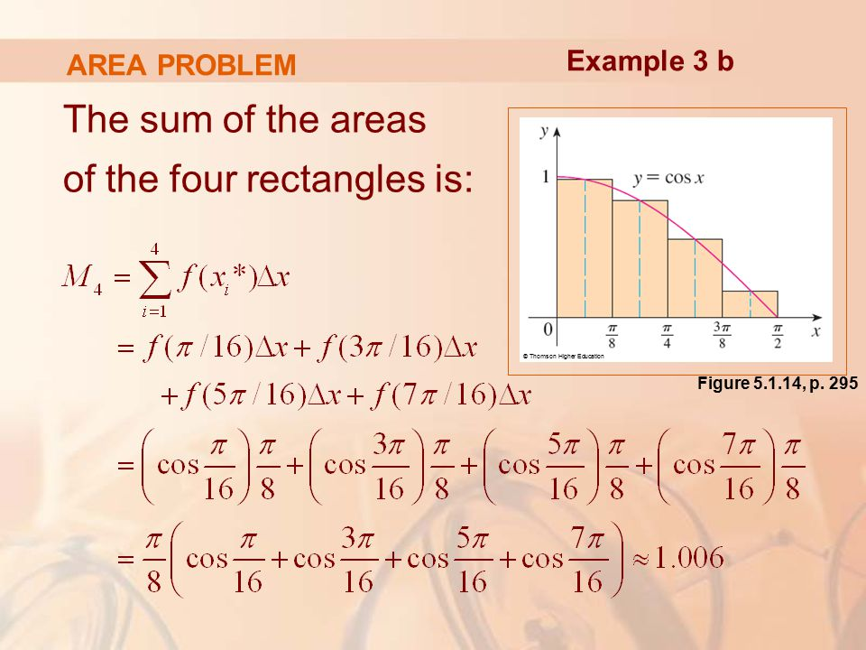 AREA PROBLEM The sum of the areas of the four rectangles is: Example 3 b © Thomson Higher Education Figure , p.