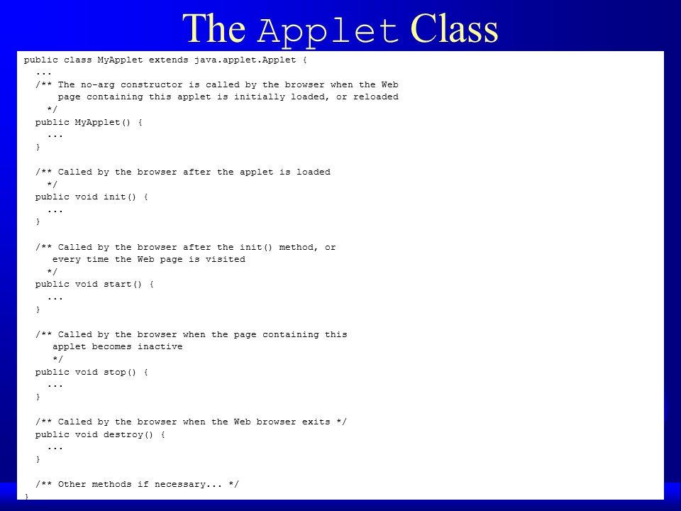 Applets  The Applet Class public class MyApplet extends java