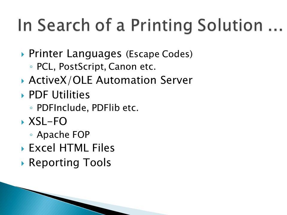 Alon Blich A B C   Printer Languages (Escape Codes) ◦ PCL