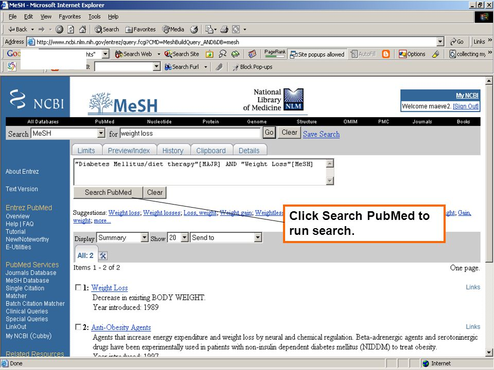 Click Search PubMed to run search.