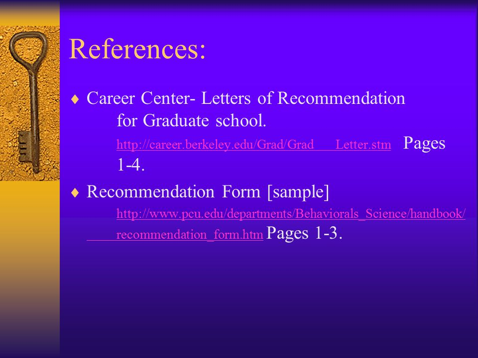 references career center letters of recommendation for graduate school