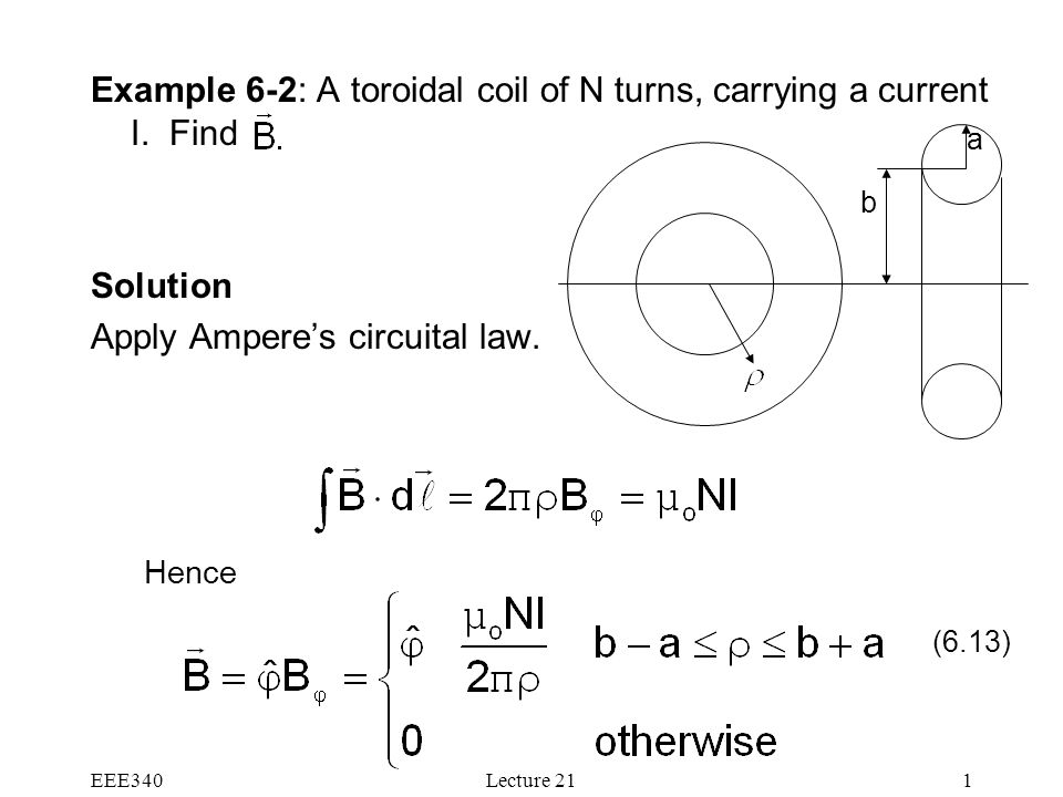 EEE340Lecture 211 Example 6-2: A toroidal coil of N turns