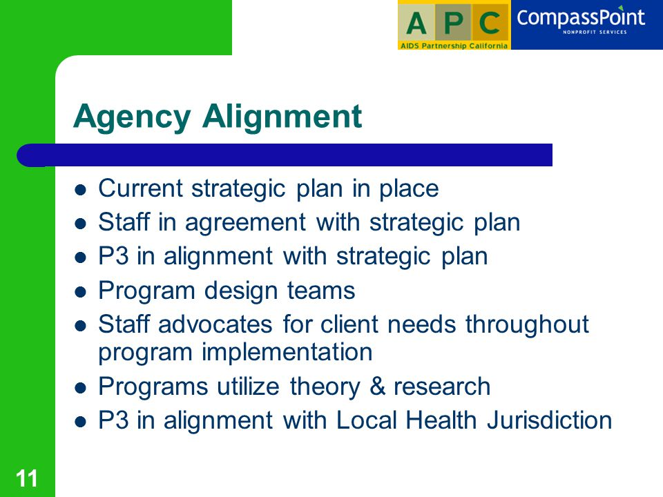 11 Agency Alignment Current strategic plan in place Staff in agreement with strategic plan P3 in alignment with strategic plan Program design teams Staff advocates for client needs throughout program implementation Programs utilize theory & research P3 in alignment with Local Health Jurisdiction