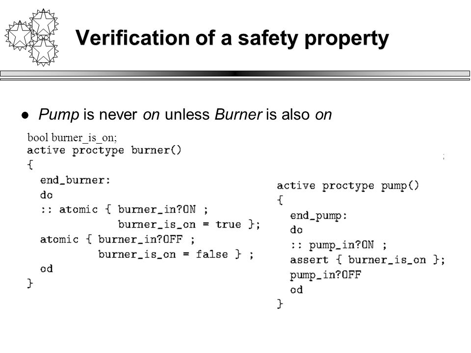Verification of a safety property Pump is never on unless Burner is also on bool burner_is_on;