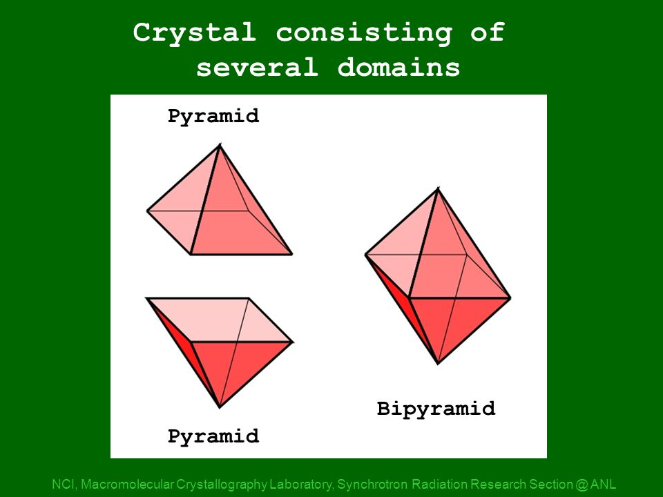Pyramids NCI, Macromolecular Crystallography Laboratory, Synchrotron Radiation Research ANL Crystal consisting of several domains Pyramid Bipyramid