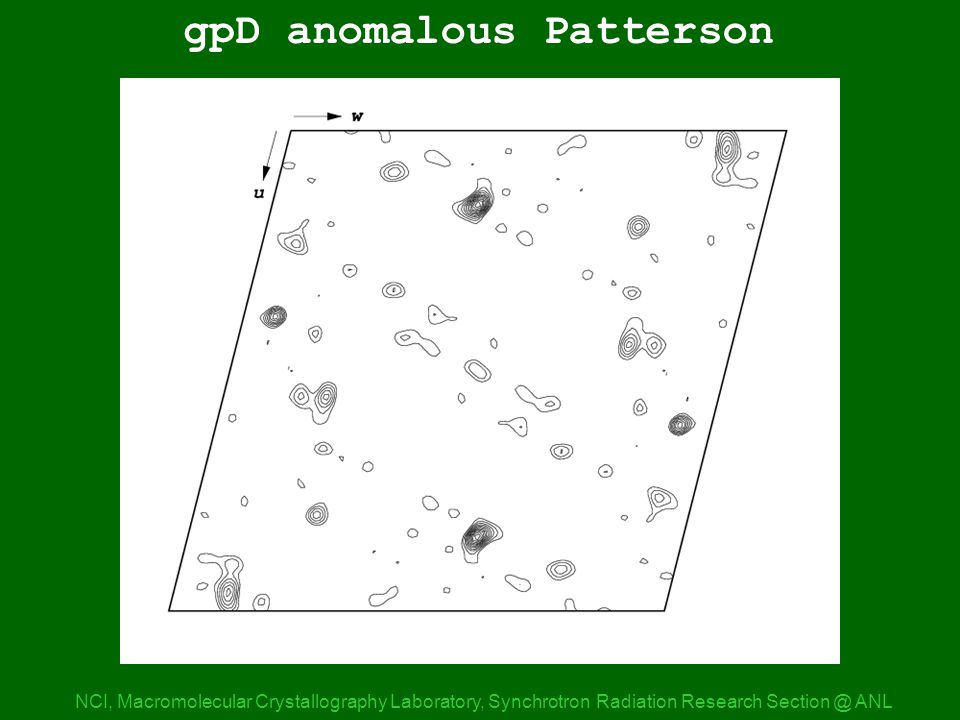 gpD anom Patterson 0 NCI, Macromolecular Crystallography Laboratory, Synchrotron Radiation Research ANL gpD anomalous Patterson