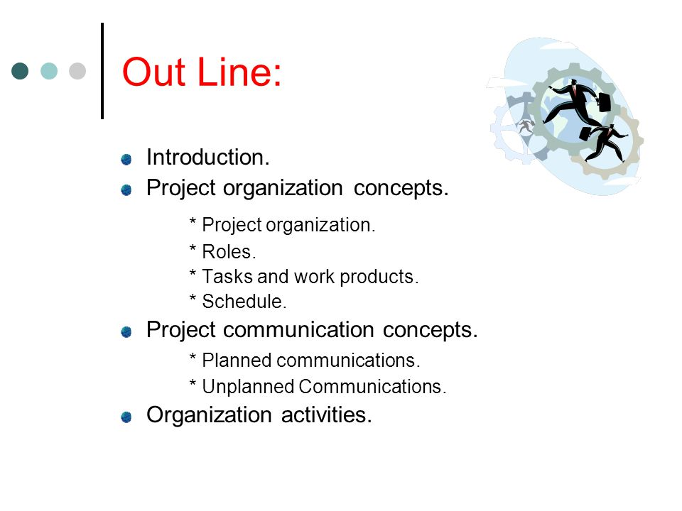 Out Line: Introduction. Project organization concepts.