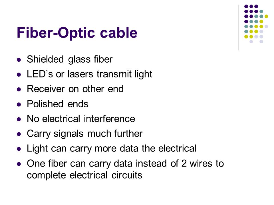 Fiber-Optic cable Shielded glass fiber LED's or lasers transmit light Receiver on other end Polished ends No electrical interference Carry signals much further Light can carry more data the electrical One fiber can carry data instead of 2 wires to complete electrical circuits