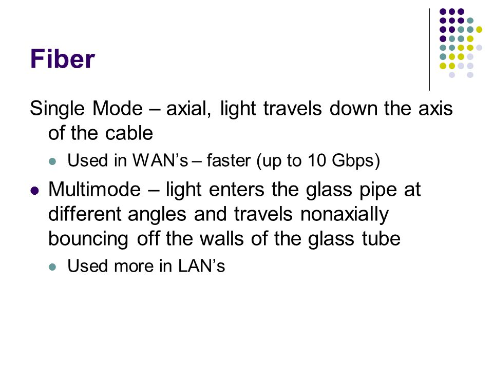 Fiber Single Mode – axial, light travels down the axis of the cable Used in WAN's – faster (up to 10 Gbps) Multimode – light enters the glass pipe at different angles and travels nonaxially bouncing off the walls of the glass tube Used more in LAN's