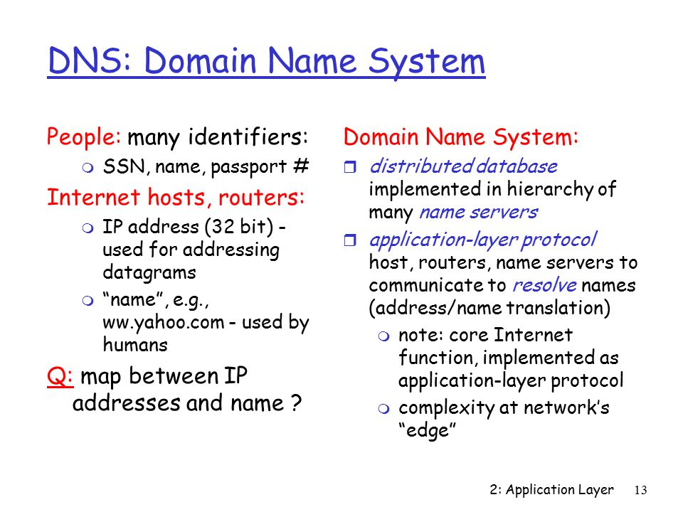 2: Application Layer13 DNS: Domain Name System People: many identifiers: m SSN, name, passport # Internet hosts, routers: m IP address (32 bit) - used for addressing datagrams m name , e.g., ww.yahoo.com - used by humans Q: map between IP addresses and name .