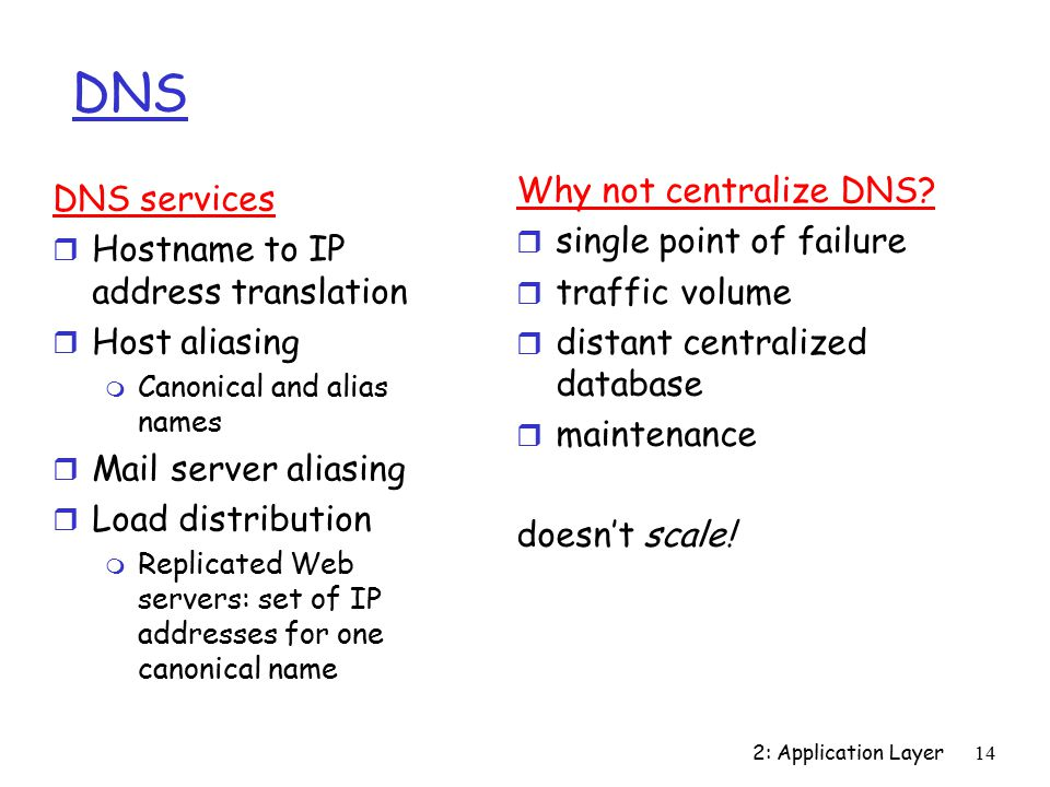 2: Application Layer14 DNS Why not centralize DNS.