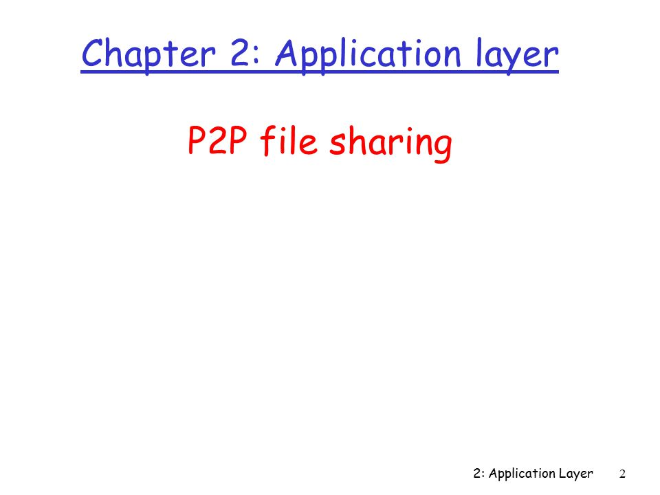 2: Application Layer2 Chapter 2: Application layer P2P file sharing