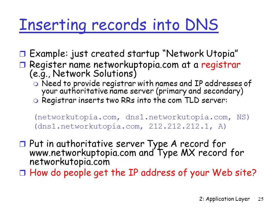 2: Application Layer25 Inserting records into DNS r Example: just created startup Network Utopia r Register name networkuptopia.com at a registrar (e.g., Network Solutions) m Need to provide registrar with names and IP addresses of your authoritative name server (primary and secondary) m Registrar inserts two RRs into the com TLD server: (networkutopia.com, dns1.networkutopia.com, NS) (dns1.networkutopia.com, , A) r Put in authoritative server Type A record for   and Type MX record for networkutopia.com r How do people get the IP address of your Web site