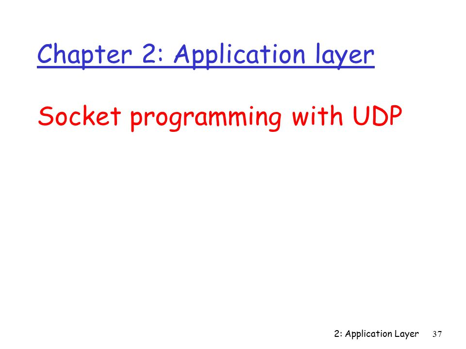 2: Application Layer37 Chapter 2: Application layer Socket programming with UDP