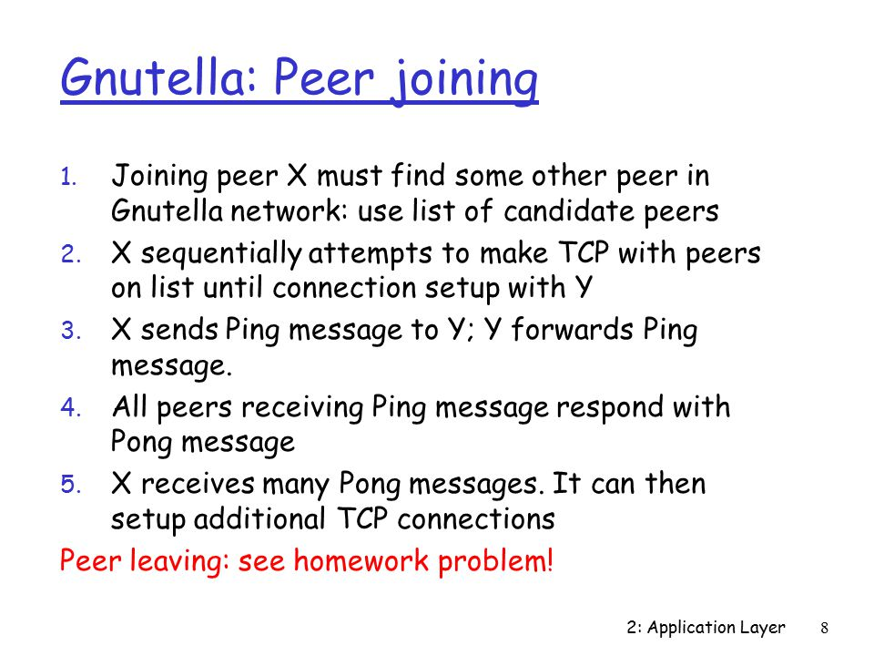 2: Application Layer8 Gnutella: Peer joining 1.