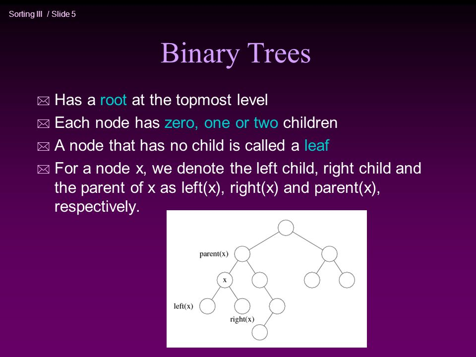 Sorting III / Slide 5 Binary Trees * Has a root at the topmost level * Each node has zero, one or two children * A node that has no child is called a leaf * For a node x, we denote the left child, right child and the parent of x as left(x), right(x) and parent(x), respectively.