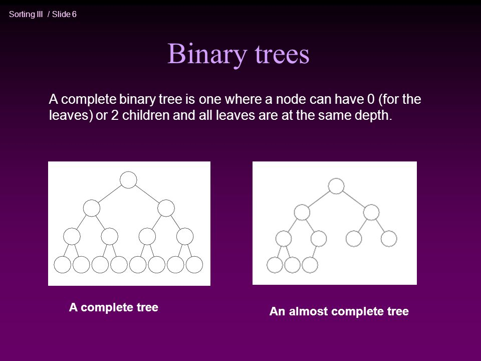 Sorting III / Slide 6 Binary trees A complete tree An almost complete tree A complete binary tree is one where a node can have 0 (for the leaves) or 2 children and all leaves are at the same depth.