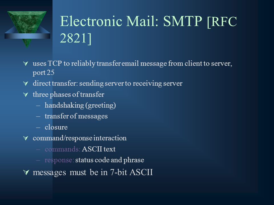 Electronic Mail: SMTP [RFC 2821]  uses TCP to reliably transfer  message from client to server, port 25  direct transfer: sending server to receiving server  three phases of transfer –handshaking (greeting) –transfer of messages –closure  command/response interaction –commands: ASCII text –response: status code and phrase  messages must be in 7-bit ASCII