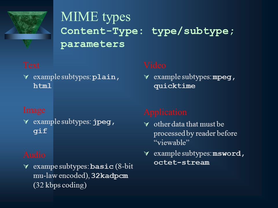 MIME types Content-Type: type/subtype; parameters Text  example subtypes: plain, html Image  example subtypes: jpeg, gif Audio  exampe subtypes: basic (8-bit mu-law encoded), 32kadpcm (32 kbps coding) Video  example subtypes: mpeg, quicktime Application  other data that must be processed by reader before viewable  example subtypes: msword, octet-stream