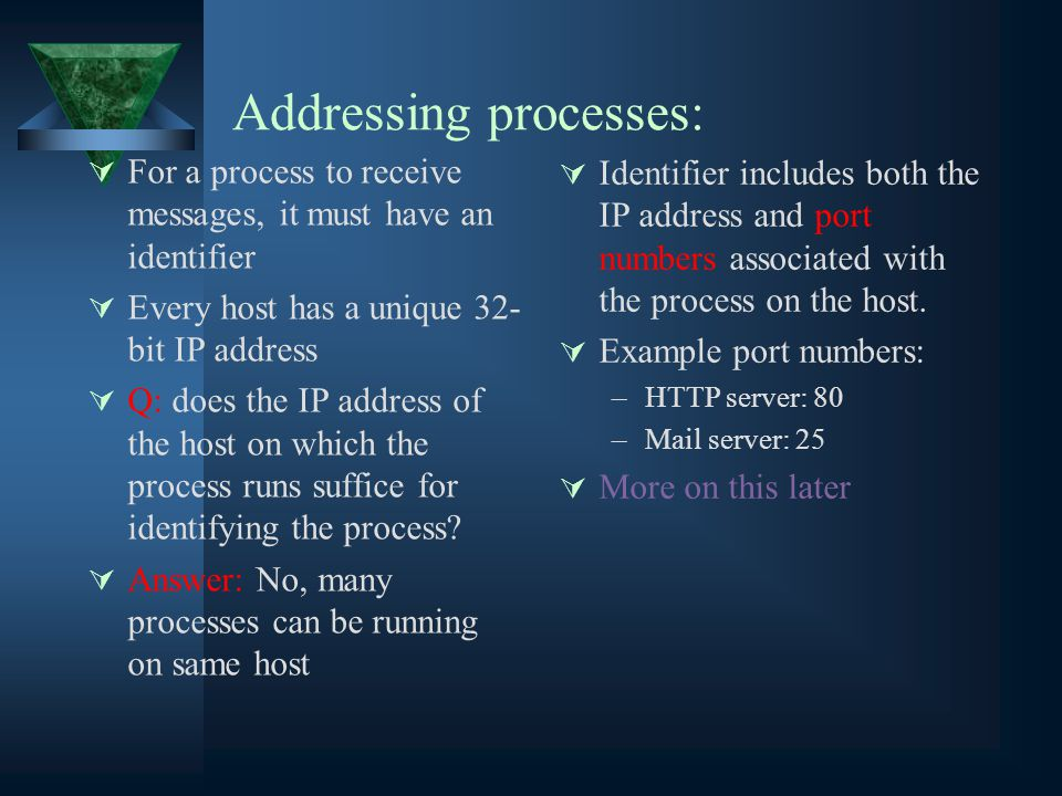 Addressing processes:  For a process to receive messages, it must have an identifier  Every host has a unique 32- bit IP address  Q: does the IP address of the host on which the process runs suffice for identifying the process.