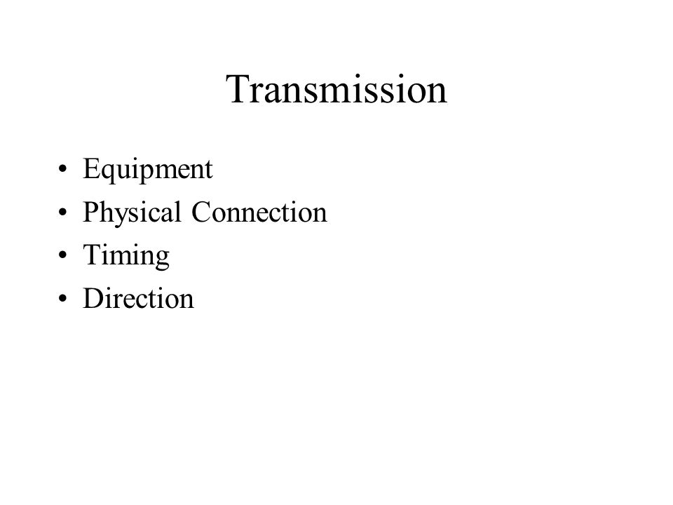 Transmission Equipment Physical Connection Timing Direction
