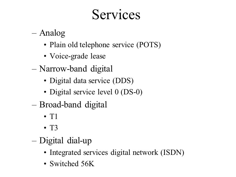 Services –Analog Plain old telephone service (POTS) Voice-grade lease –Narrow-band digital Digital data service (DDS) Digital service level 0 (DS-0) –Broad-band digital T1 T3 –Digital dial-up Integrated services digital network (ISDN) Switched 56K
