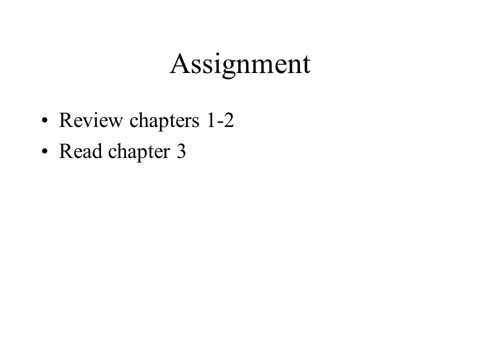 Assignment Review chapters 1-2 Read chapter 3