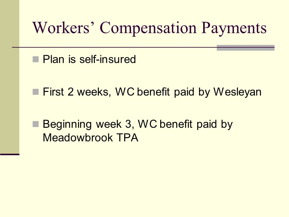 Workers' Compensation Payments Plan is self-insured First 2 weeks, WC benefit paid by Wesleyan Beginning week 3, WC benefit paid by Meadowbrook TPA