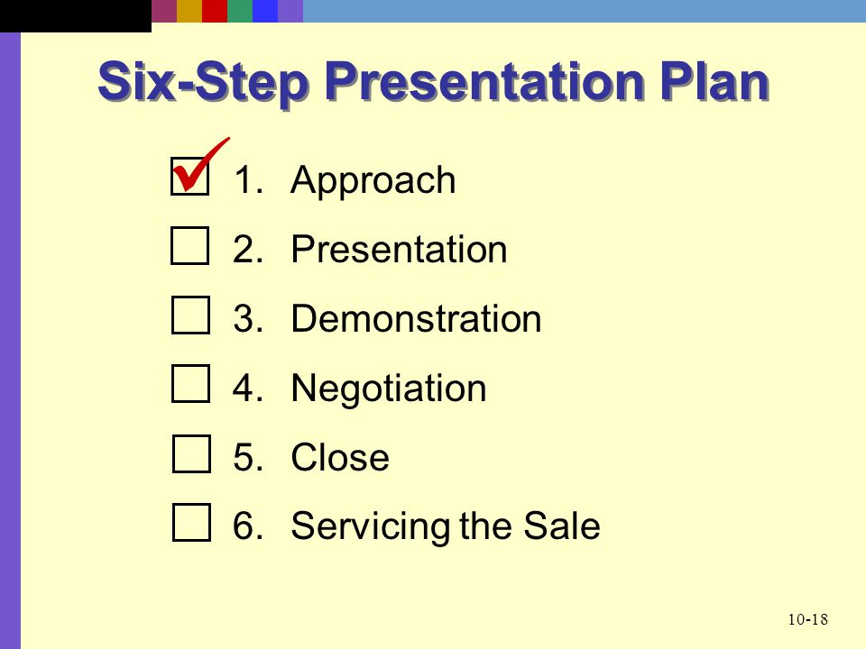 10-18 Six-Step Presentation Plan 1.Approach 2.Presentation 3.Demonstration 4.Negotiation 5.Close 6.Servicing the Sale