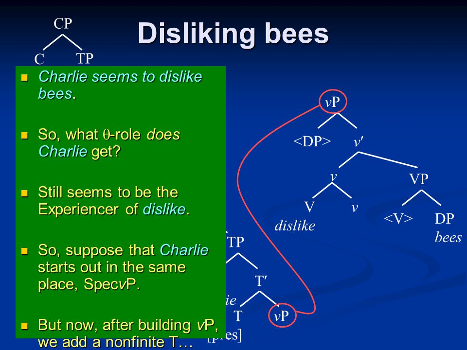 Disliking bees vPvP T T [pres] TP DP Charlie CP C that V seem VP vPvP v v T T [pres] TP DP It CP CØCØ V dislike VP DP bees v v vPvP v Charlie seems to dislike bees.