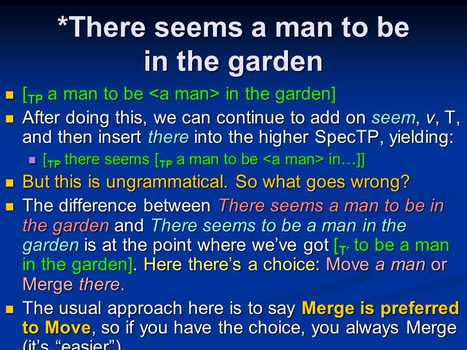 *There seems a man to be in the garden [ TP a man to be in the garden] [ TP a man to be in the garden] After doing this, we can continue to add on seem, v, T, and then insert there into the higher SpecTP, yielding: After doing this, we can continue to add on seem, v, T, and then insert there into the higher SpecTP, yielding: [ TP there seems [ TP a man to be in…]] [ TP there seems [ TP a man to be in…]] But this is ungrammatical.