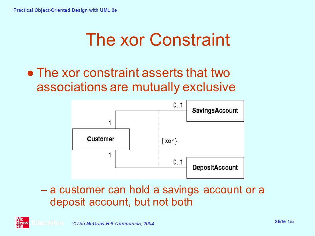Practical Object-Oriented Design with UML 2e Slide 1/5 ©The McGraw-Hill Companies, 2004 The xor Constraint ●The xor constraint asserts that two associations are mutually exclusive –a customer can hold a savings account or a deposit account, but not both