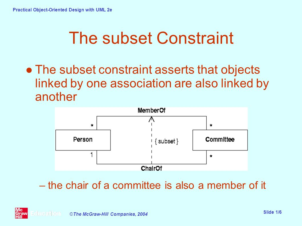 Practical Object-Oriented Design with UML 2e Slide 1/6 ©The McGraw-Hill Companies, 2004 The subset Constraint ●The subset constraint asserts that objects linked by one association are also linked by another –the chair of a committee is also a member of it