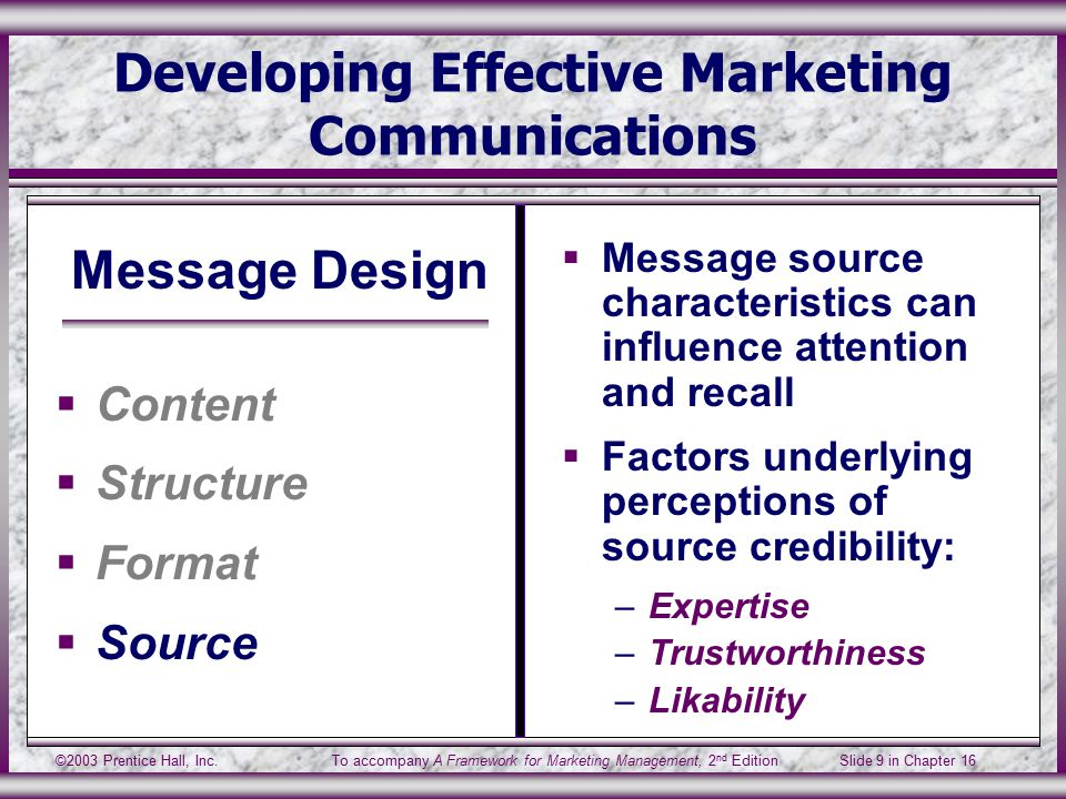 ©2003 Prentice Hall, Inc.To accompany A Framework for Marketing Management, 2 nd Edition Slide 9 in Chapter 16 Developing Effective Marketing Communications Message Design  Content  Structure  Format  Source  Message source characteristics can influence attention and recall  Factors underlying perceptions of source credibility: –Expertise –Trustworthiness –Likability