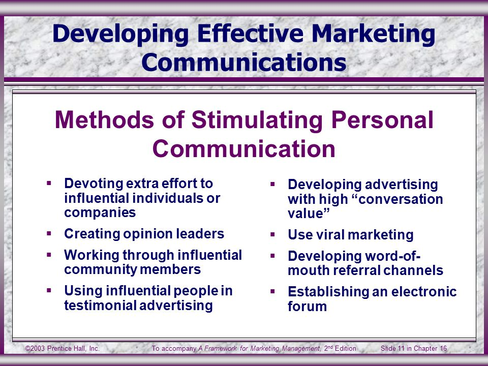 ©2003 Prentice Hall, Inc.To accompany A Framework for Marketing Management, 2 nd Edition Slide 11 in Chapter 16 Developing Effective Marketing Communications  Devoting extra effort to influential individuals or companies  Creating opinion leaders  Working through influential community members  Using influential people in testimonial advertising  Developing advertising with high conversation value  Use viral marketing  Developing word-of- mouth referral channels  Establishing an electronic forum Methods of Stimulating Personal Communication