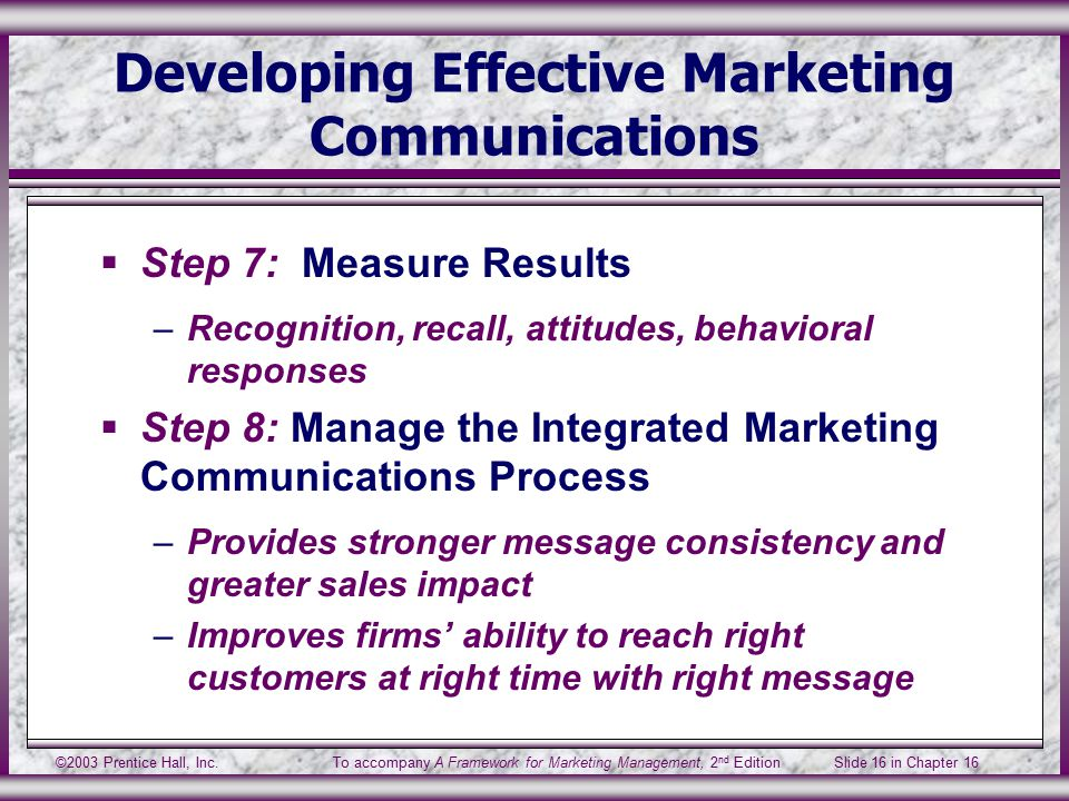 ©2003 Prentice Hall, Inc.To accompany A Framework for Marketing Management, 2 nd Edition Slide 16 in Chapter 16 Developing Effective Marketing Communications  Step 7: Measure Results –Recognition, recall, attitudes, behavioral responses  Step 8: Manage the Integrated Marketing Communications Process –Provides stronger message consistency and greater sales impact –Improves firms' ability to reach right customers at right time with right message