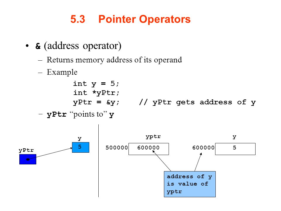 5.3Pointer Operators & (address operator) –Returns memory address of its operand –Example int y = 5; int *yPtr; yPtr = &y; // yPtr gets address of y –yPtr points to y yPtr y 5 yptr y 5 address of y is value of yptr