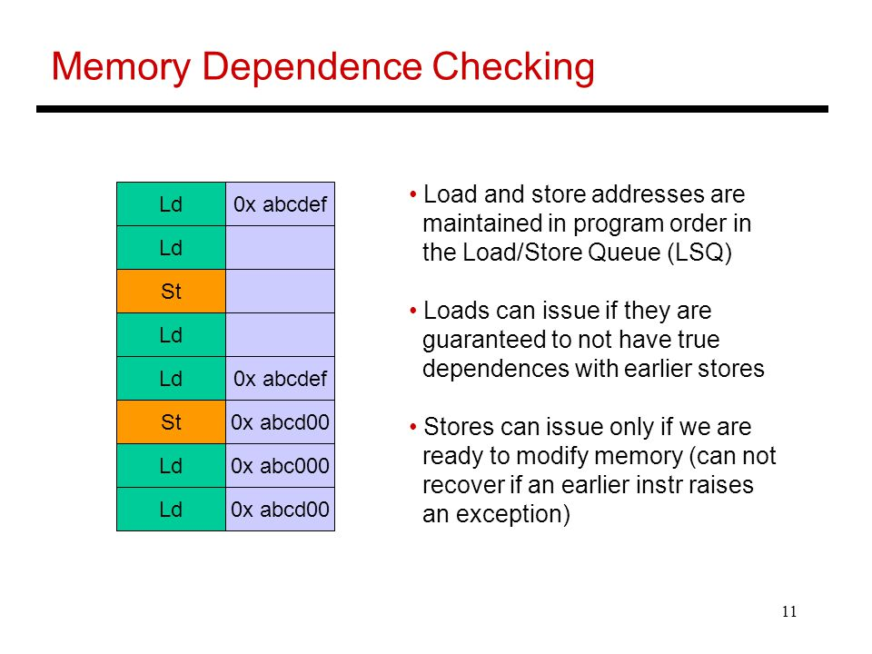11 Memory Dependence Checking Ld0x abcdef Ld St Ld 0x abcdef St0x abcd00 Ld0x abc000 Ld0x abcd00 Load and store addresses are maintained in program order in the Load/Store Queue (LSQ) Loads can issue if they are guaranteed to not have true dependences with earlier stores Stores can issue only if we are ready to modify memory (can not recover if an earlier instr raises an exception)