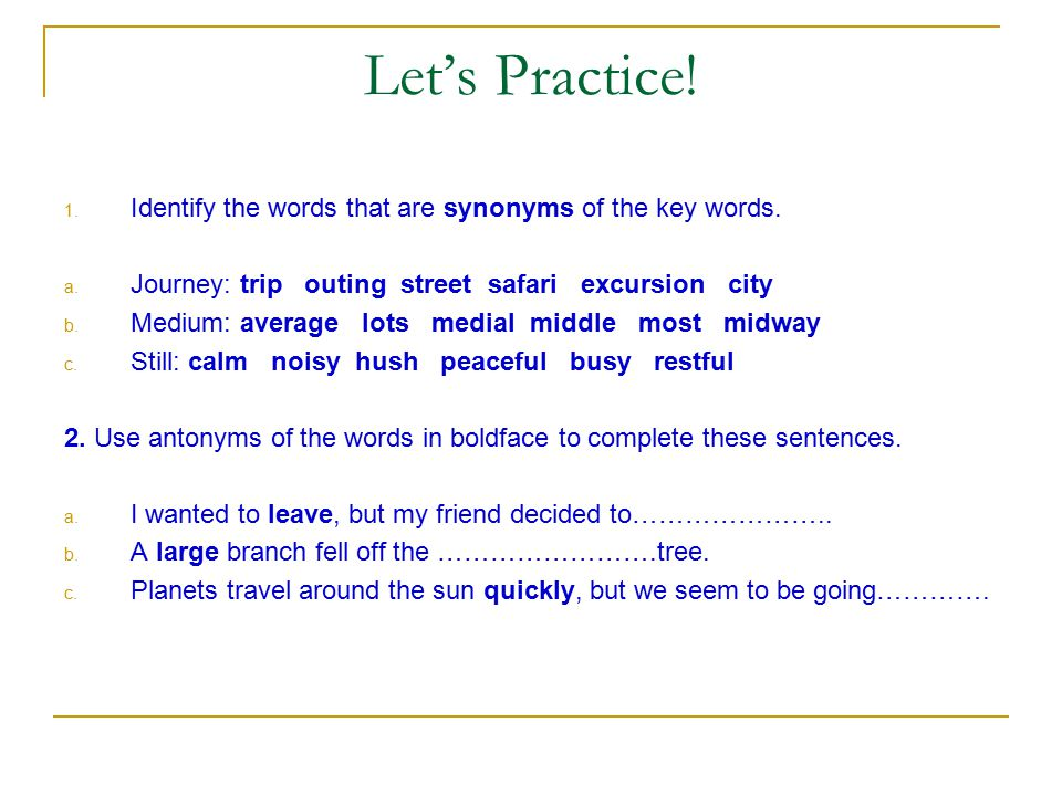 Let's Practice! Which of the following words and word parts are