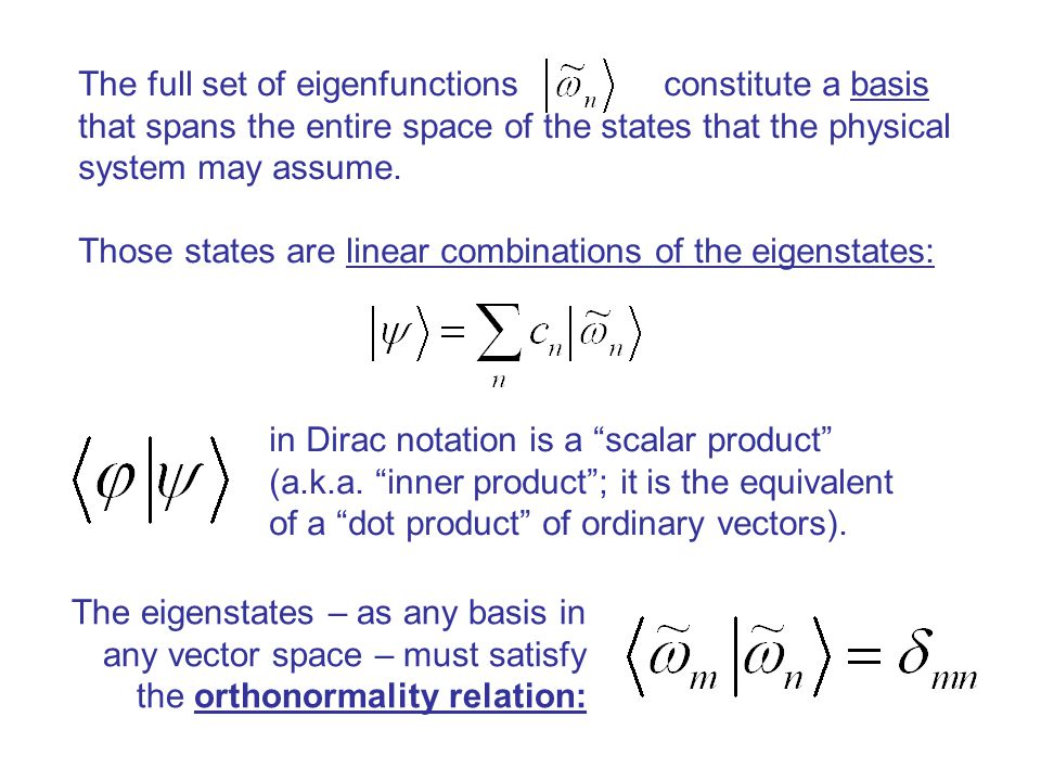 The full set of eigenfunctions constitute a basis that spans the entire space of the states that the physical system may assume.