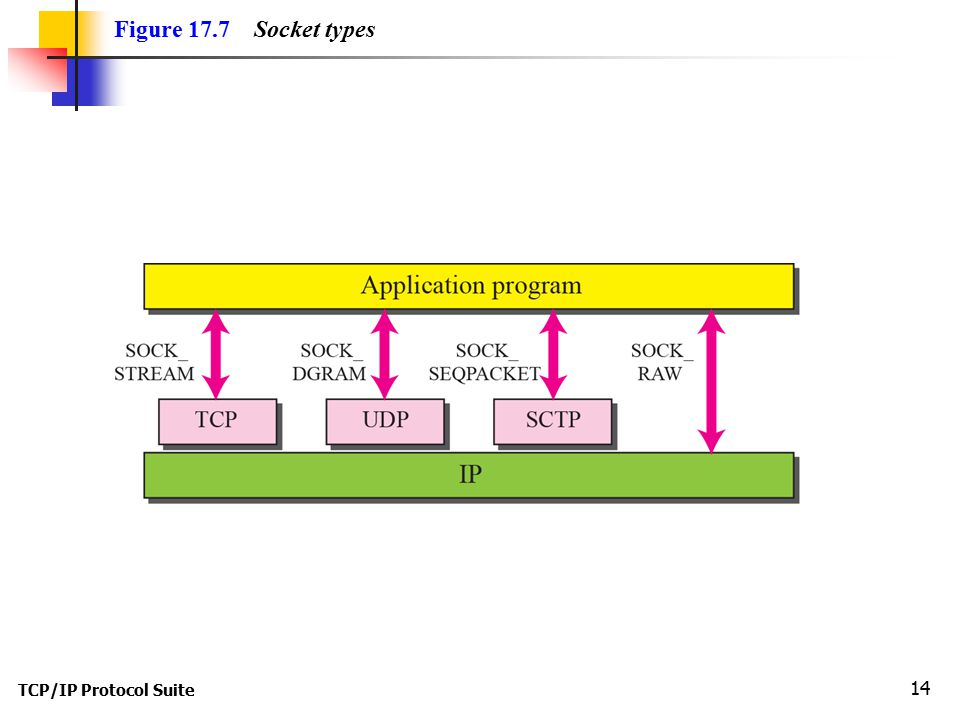 TCP/IP Protocol Suite 14 Figure 17.7 Socket types