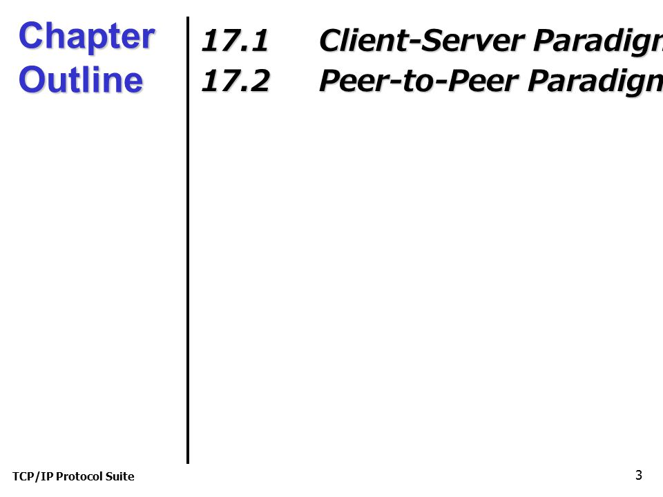 TCP/IP Protocol Suite 3 Chapter Outline 17.1 Client-Server Paradigm 17.2 Peer-to-Peer Paradigm