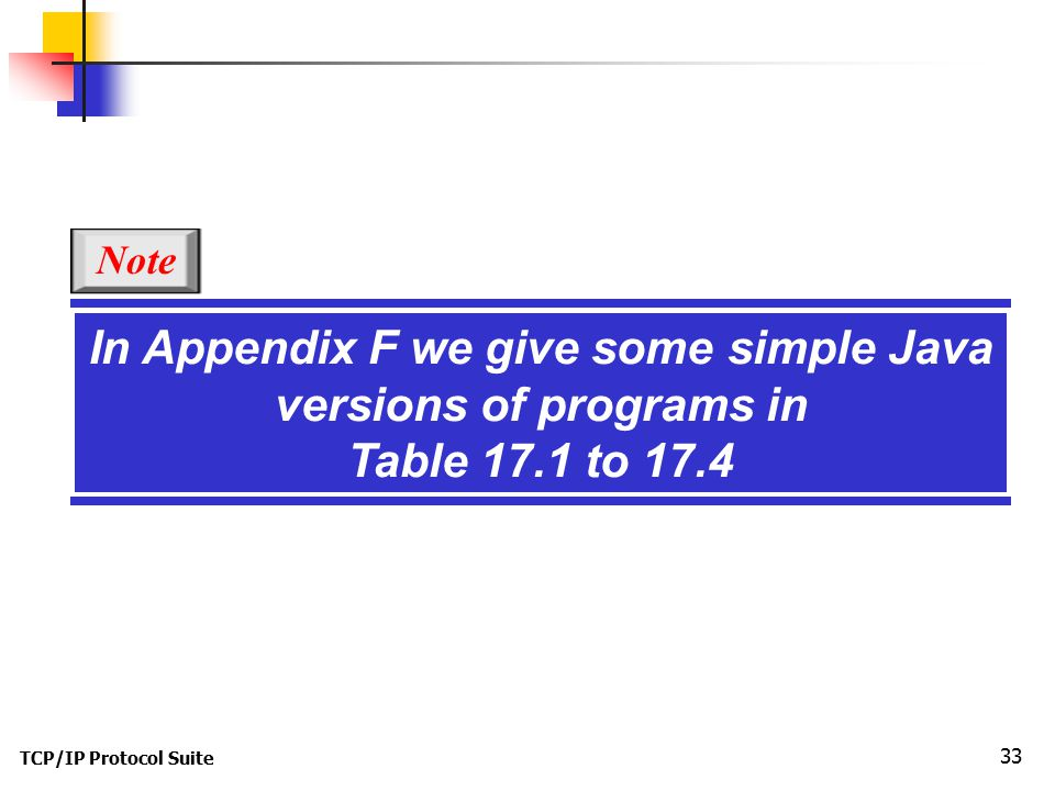 TCP/IP Protocol Suite 33 In Appendix F we give some simple Java versions of programs in Table 17.1 to 17.4 Note